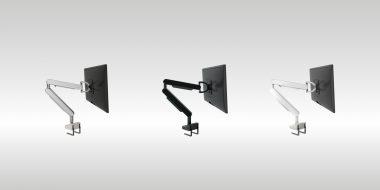 Suport monitor cu brat felxibil Alb, negru, inox